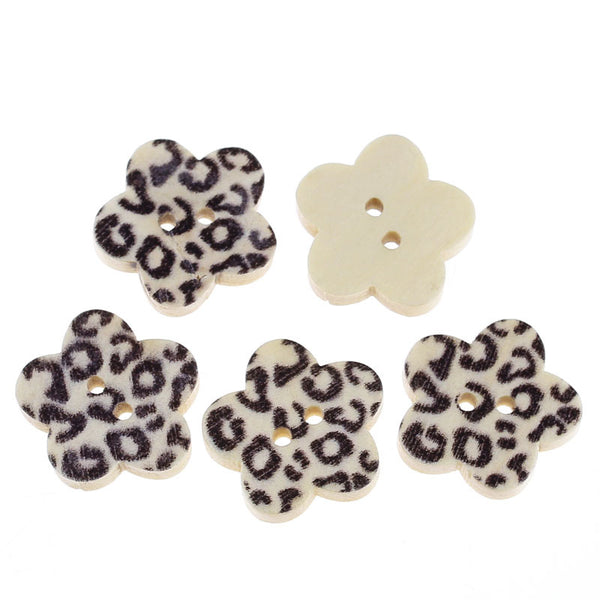 10 Pcs Flower Shaped Natural Wood Buttons w/ Black Leopard Pattern 17mm - Sexy Sparkles Fashion Jewelry - 1