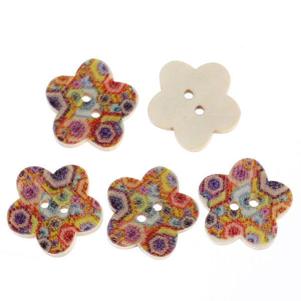 10 Pcs Flower Shaped Natural Wood Buttons with Multicolor Hexagon Pattern - Sexy Sparkles Fashion Jewelry - 1