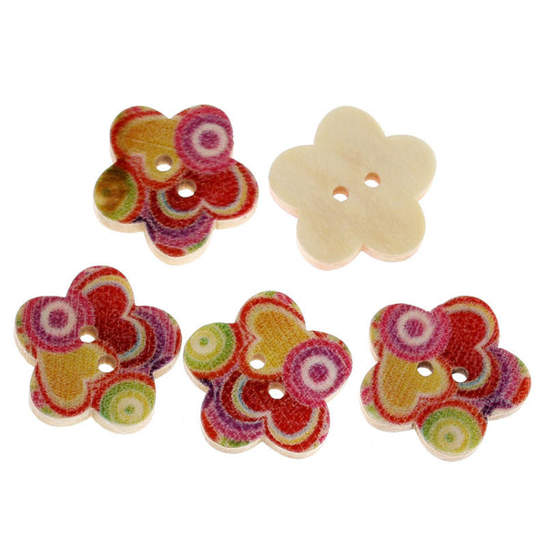 10 Pcs Flower Shaped Wood Buttons Multicolor Heart & Loop Pattern 17mm - Sexy Sparkles Fashion Jewelry - 1