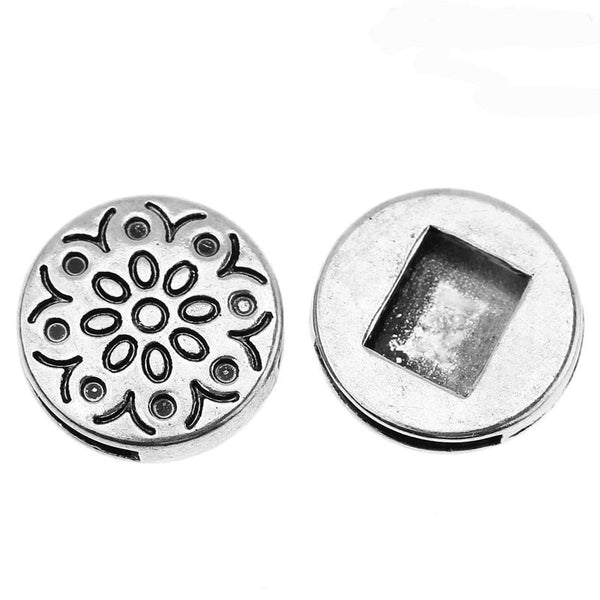 Sexy Sparkles 4 Pcs Beads Slide Buttons Fit Watch Bands/wristbands (Flower Silver Tone)