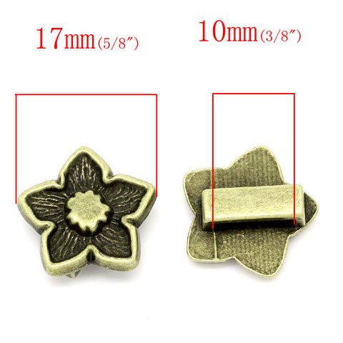 5pcs Flower Shape Antique Copper Beads Fit Watch Bands/wristbands 17mmx16mm - Sexy Sparkles Fashion Jewelry - 2
