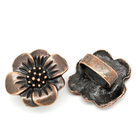 2pcs Flower Shape Antique Copper Beads Fit Watch Bands/wristbands 24mmx22mm - Sexy Sparkles Fashion Jewelry - 1