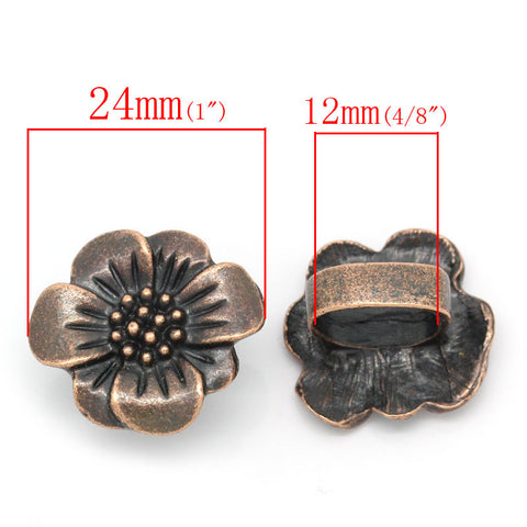 2pcs Flower Shape Antique Copper Beads Fit Watch Bands/wristbands 24mmx22mm - Sexy Sparkles Fashion Jewelry - 3