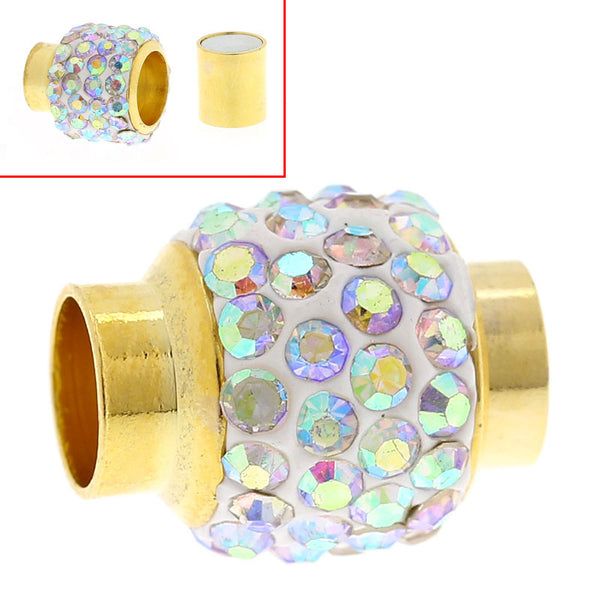 1 Pc Copper Magnetic Clasp Column/cylinder Gold Plated Ab Color Rhinestone - Sexy Sparkles Fashion Jewelry - 1