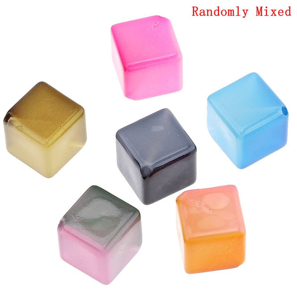 Sexy Sprkles 10 Pcs Acrylic Spacer Beads Cube Assorted Colors 14mm
