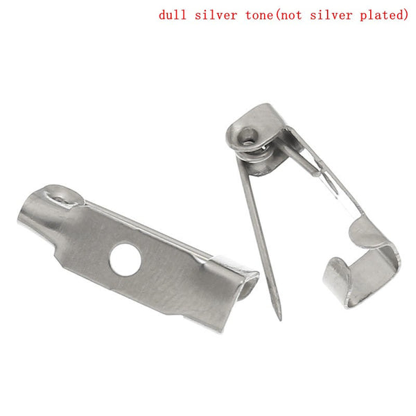 50 Pcs Safety Brooches Findings Catch Bar Silver Tone 15mm - Sexy Sparkles Fashion Jewelry - 1