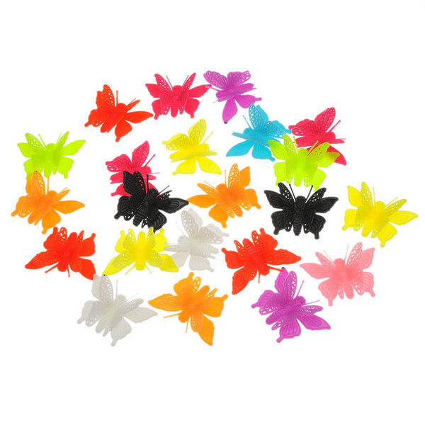 20 Pcs 3d Butterfly Plastic Embellishments Findings Assorted Colors - Sexy Sparkles Fashion Jewelry - 1