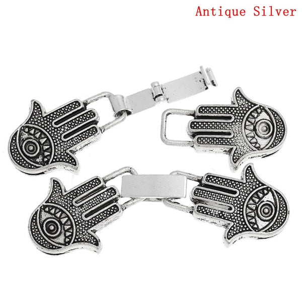2 Set of Hook Clasps Hamsa Symbol Hand Antique Silver 5.7cm - Sexy Sparkles Fashion Jewelry - 1
