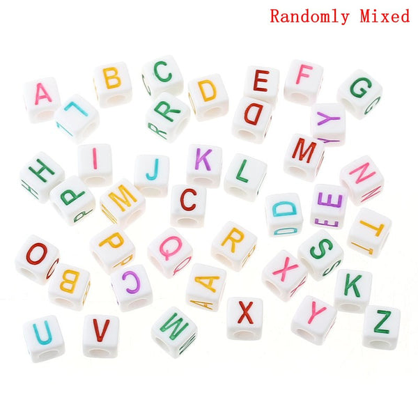 "300 Pcs Acrylic Spacer Beads White Cube Mixed Alphabet/Letters ""A-Z"" - Sexy Sparkles Fashion Jewelry - 1"