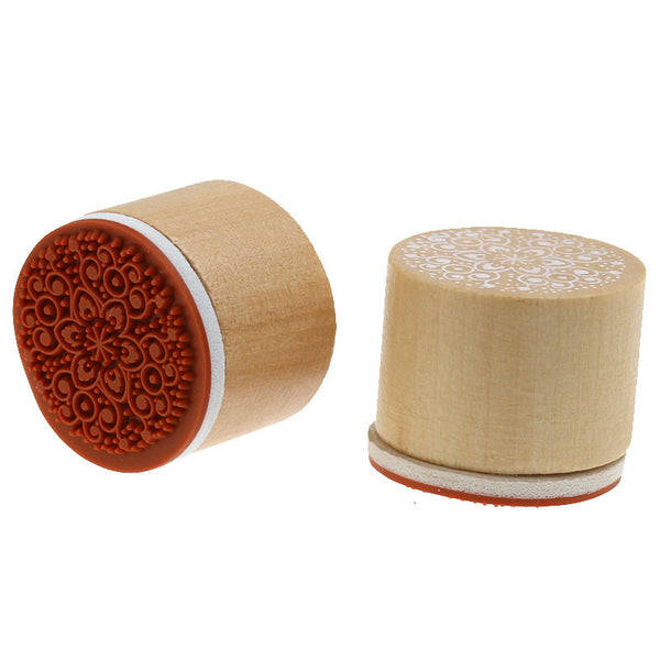 1 Pc Round Wood Rubber Stamp with Flower Pattern - Sexy Sparkles Fashion Jewelry - 1