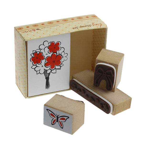 Rubber Stamps Wooden Flowers, Butterfly & Bow Set - Sexy Sparkles Fashion Jewelry - 1