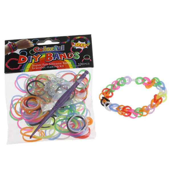 Sexy Sparkles 300 Pcs Rubber Bands DIY Loom Bracelet Making Kit with Hook Crochet and S Clips (Multicolor)