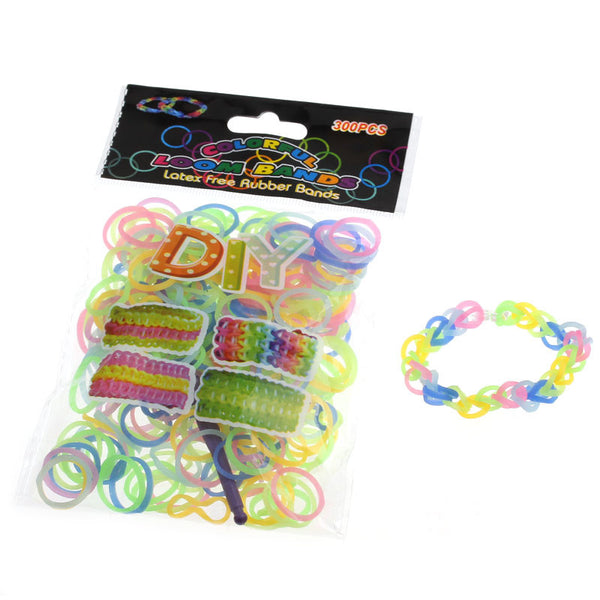Sexy Sparkles 300 Pcs Rubber Bands DIY Loom Bracelet Making Kit with Hook Crochet and S Clips (Neon Mixed)