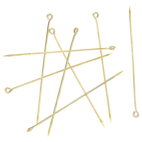 100 Pcs Copper Eye Pins Findings Brass Tone 60mm (18gauge) - Sexy Sparkles Fashion Jewelry - 1