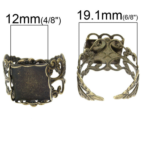 Sexy Sparkles 2 Pcs Copper Adjustable Ring Square Cabochon Setting Antique Bronze US Size 9