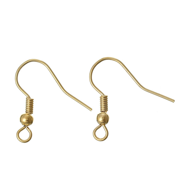 Sexy Sparkles 10 Pcs, Copper Ear Wire Hook 18k Gold Plated with Spring Ball Loops
