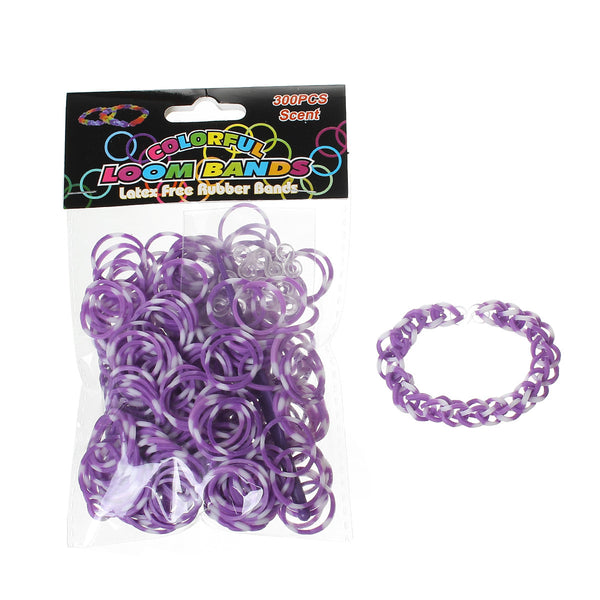 Sexy Sparkles 300 Pcs Rubber Bands DIY Loom Bracelet Making Kit with Hook Crochet and S Clips (Purple and White)