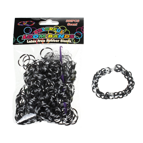Sexy Sparkles 300 Pcs Rubber Bands DIY Loom Bracelet Making Kit with Hook Crochet and S Clips (White and Black)