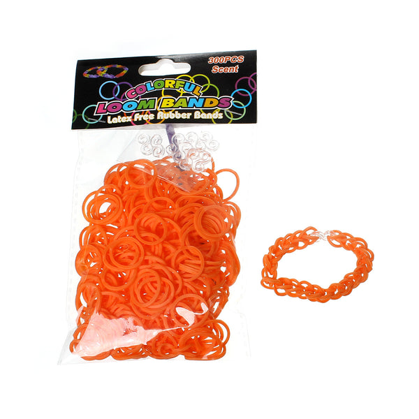 Sexy Sparkles 300 Pcs Rubber Bands DIY Loom Bracelet Making Kit with Hook Crochet and S Clips (Orange Red)