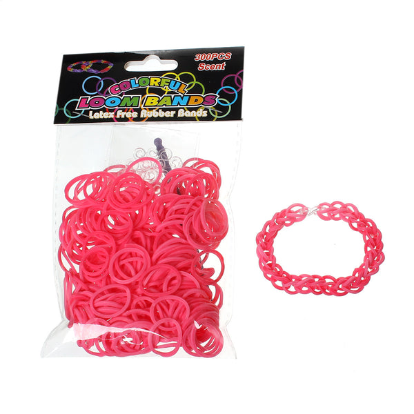 Sexy Sparkles 300 Pcs Rubber Bands DIY Loom Bracelet Making Kit with Hook Crochet and S Clips (Pink)