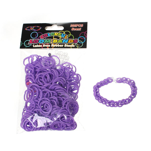 Sexy Sparkles 300 Pcs Rubber Bands DIY Loom Bracelet Making Kit with Hook Crochet and S Clips (Purple)