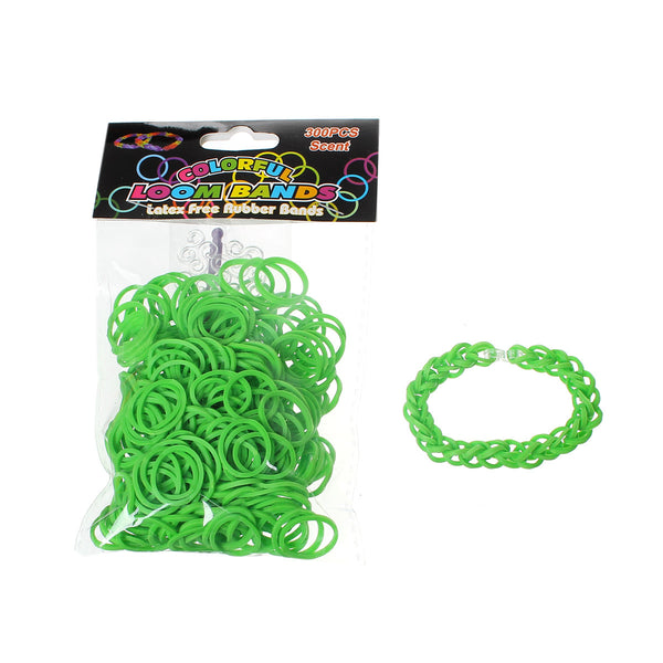 Sexy Sparkles 300 pcs Rubber Bands DIY Loom Bracelet Making Kit with Hook Crochet and S Clips (Grass Green)