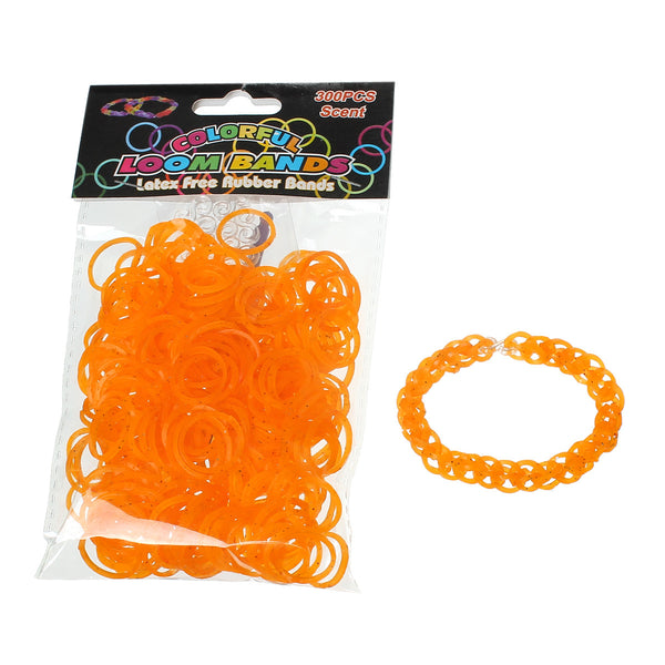 Sexy Sparkles 300 pcs Rubber Bands DIY Loom Bracelet Making Kit with Hook Crochet and S Clips (Glitter Orange)