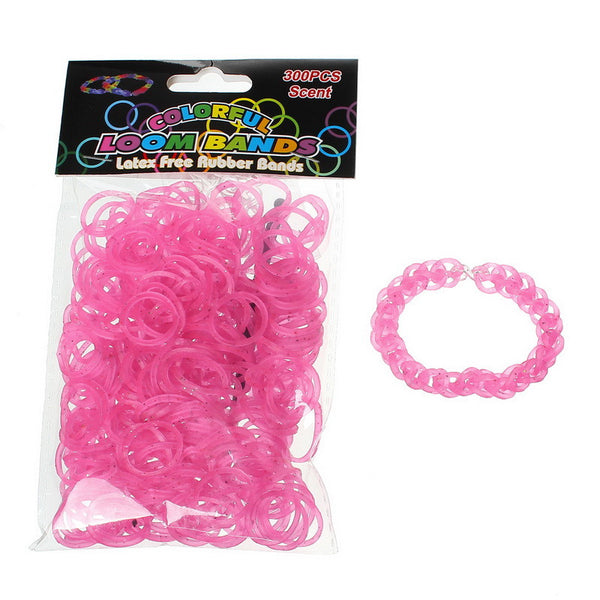 Sexy Sparkles 300 Pcs Rubber Bands DIY Loom Bracelet Making Kit with Hook Crochet and S Clips (Glitter Pink)