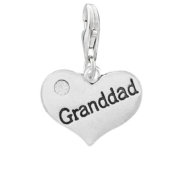 2 Sided Granddad Heart Clip on Charm
