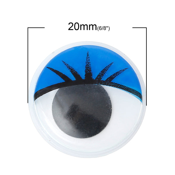 10 Pcs Blue Wiggle Eyes Craft for Toy Doll Making Round Flat Back 20mm - Sexy Sparkles Fashion Jewelry - 1