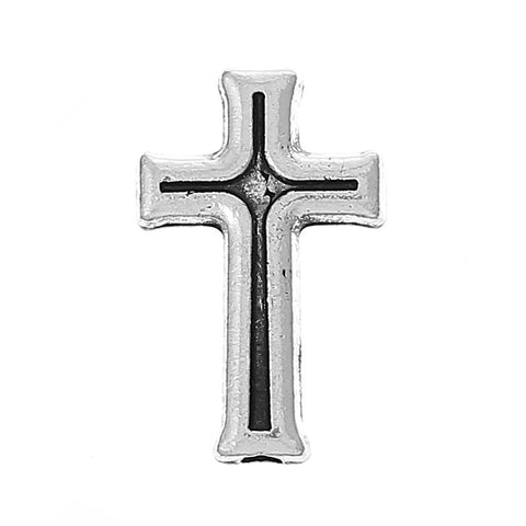 10 Pcs Charm Beads Cross Antique Silver 16mm - Sexy Sparkles Fashion Jewelry - 3