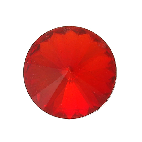 Sexy Sparkles 10 Pcs Round Glass Point Back Rhinestones Faceted 10mm (Red)