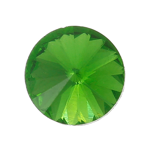 Sexy Sparkles 10 Pcs Round Glass Point Back Rhinestones Faceted 10mm (Green)