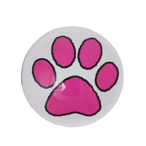 "Sexy Sparkles 4 Pcs Round Flatback Glass Dome Cabachon with Design 25mm (1"") (Fuchsia Bear's Paw)"