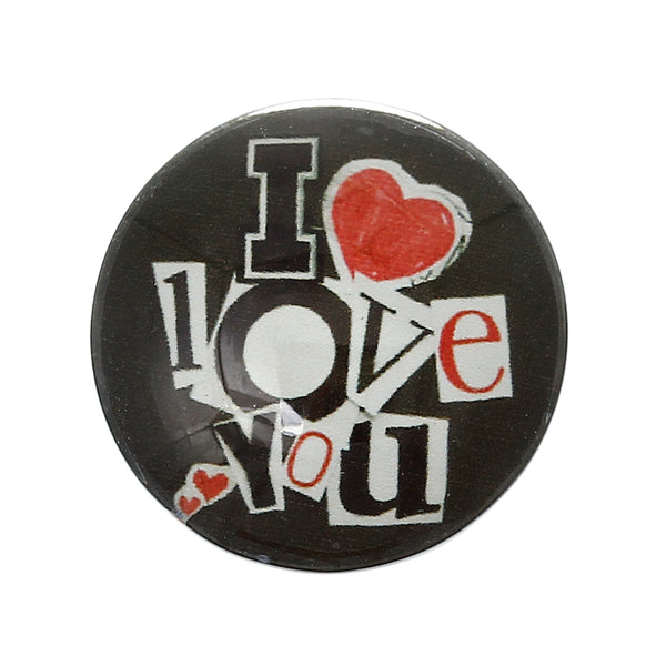 "Sexy Sparkles 5 Pcs Round Flatback Glass Dome Cabochon Embellishment with Design 20mm(6/8"") (Black ""I love you"")"