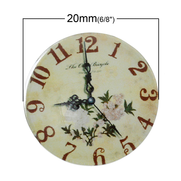 "Sexy Sparkles 5 Pcs Round Flatback Glass Dome Cabochon Embellishment with Design 20mm(6/8"") (Pale Yellow Flower Clock)"