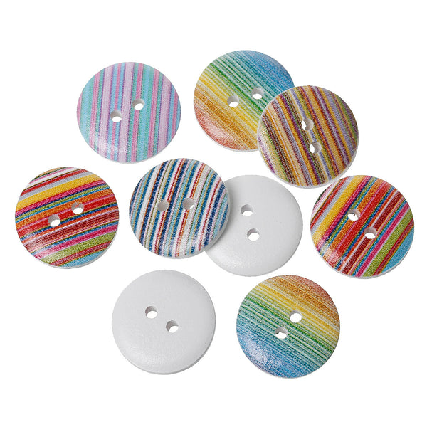 10 Pcs Wood Round Scrapbooking Sewing Buttons Multicolor Stripe Pattern 18mm - Sexy Sparkles Fashion Jewelry - 1