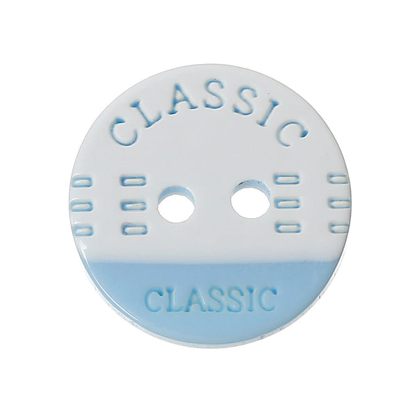 "Sexy Sparkles 20 Pcs Resin Round Sewing Scrapbooking Buttons ""Classic"" Printed 13mm (Blue White)"