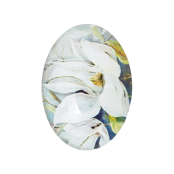 "Sexy Sparkles 4 Pcs Oval Flatback Glass Dome Cabochon Embellishment 25mm(1"") (White Flower)"