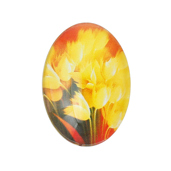 "Sexy Sparkles 4 Pcs Oval Flatback Glass Dome Cabochon Embellishment 25mm(1"") (Yellow Tulip)"