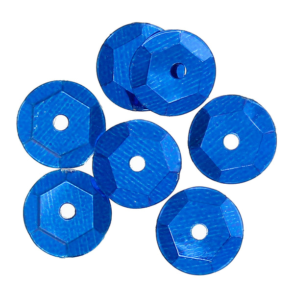 Sexy Sparkles 8mm Round Sequin Paillettes Sewing Embellishment Hexagon 5000pcs (Blue)