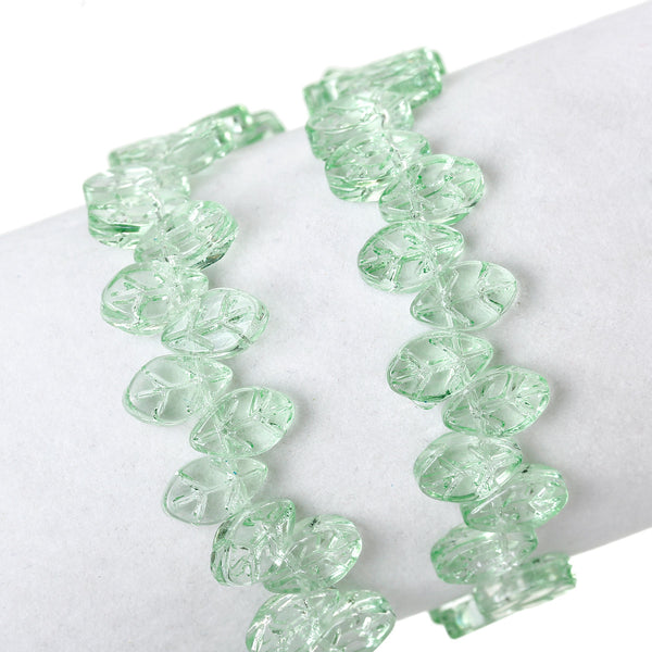 "Sexy Sparkles 1 Strand Glass Loose Beds Leaf Shape 7mm,13"" Long, Approx.60pcs/strand (Green)"