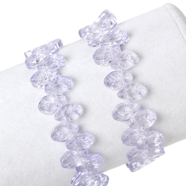 "Sexy Sparkles 1 Strand Glass Loose Beds Leaf Shape 7mm,13"" Long, Approx.60pcs/strand (Purple)"