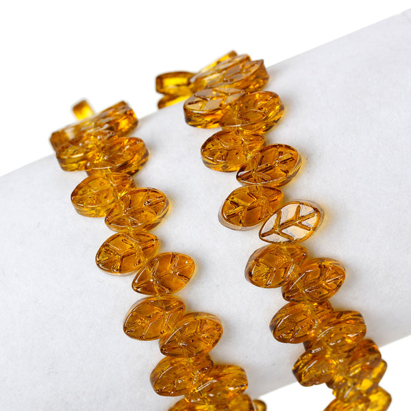 "Sexy Sparkles 1 Strand Glass Loose Beds Leaf Shape 7mm,13"" Long, Approx.60pcs/strand (Orange)"