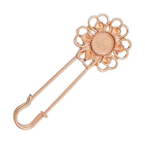 2 Pcs Safety Frame Settings Brooches Flower Rose Gold Cabochon Setting 67mm - Sexy Sparkles Fashion Jewelry - 1