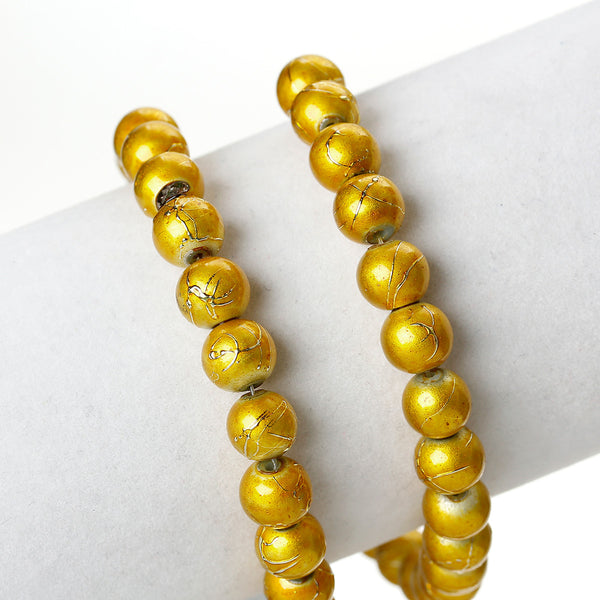 Sexy Sparkles 1 Strand Round Loose Glass Beads 8mm 81cm Long Approx. 104 Pcs (Yellow Mottled)