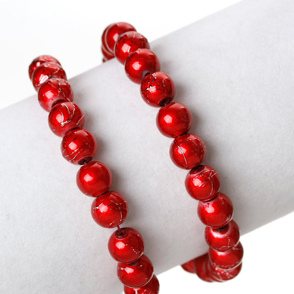 Sexy Sparkles 1 Strand Round Loose Glass Beads 8mm 81cm Long Approx. 104 Pcs (Red)