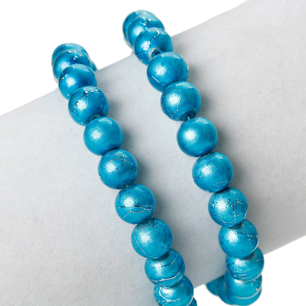 Sexy Sparkles 1 Strand Round Loose Glass Beads 8mm 81cm Long Approx. 104 Pcs (Blue)