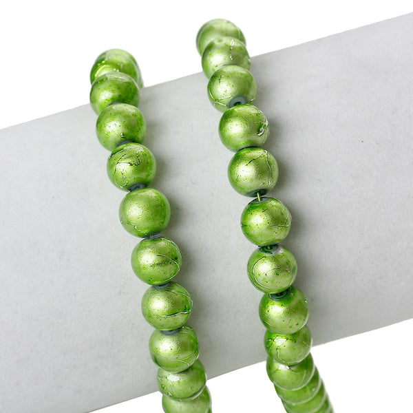 Sexy Sparkles 1 Strand Round Loose Glass Beads 8mm 81cm Long Approx. 104 Pcs (Green Mottled)