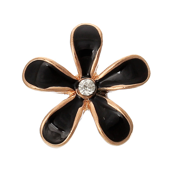 Sexy Sparkles 5 Pcs Enamel Flower Rose Charm Embellishment Findings with Clear Rhinestone 18mm (Black)